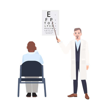 Ophthalmologist with pointer standing beside eye chart and checking eyesight of man sitting in front of it. Oculist measuring visual acuity of patient. Colorful vector illustration in flat style. Vettoriali