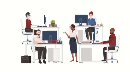 Men and women dressed in smart clothes working on computers. Male and female office workers sitting at desks or standing and drinking coffee. Flat cartoon characters. Colorful vector illustration.