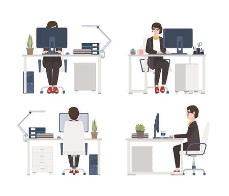 Mujer que trabaja en la computadora. Oficinista, secretaria o ayudante de sexo femenino sentado en silla en el escritorio. Personaje de dibujos animados plano aislado sobre fondo blanco. Vistas frontales, laterales y traseras. Ilustración de vector