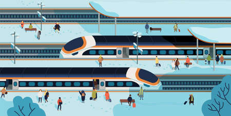 Modern high speed trains stopped at railway station and people standing and walking on platform covered by snow. Passenger rail transport, railroad transportation. Colorful flat vector illustration.