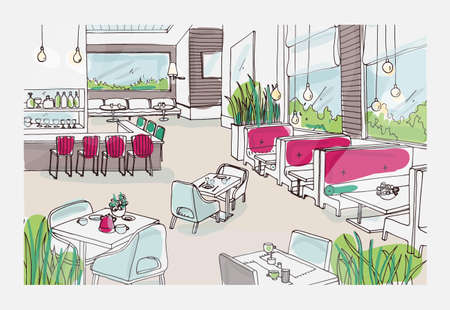 Colored freehand sketch of furnished interior of fancy restaurant or bistro. Colorful drawing of modern spacious cafe or coffee house full of stylish furnishings. Hand drawn vector illustration.