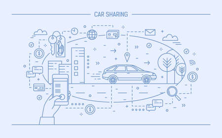 Hand holding mobile phone and automobile on city street. Concept of car sharing and electronic rental service or carsharing application. Monochrome vector illustration drawn with blue contour lines. Ilustração