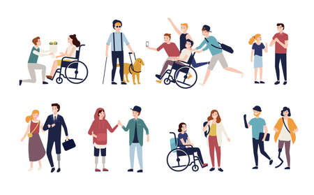 Collection of disabled people with their romantic partners and friends. Set of men and women with physical disorder or impairment with mates and family. Flat cartoon characters. Vector illustration.