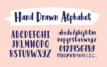 スタイリッシュな手描きの英語アルファベット。アルファベット順に配置された大文字と小文字のコレクション、書記フォントで手書きの図や記号。現代のベクトルイラスト。