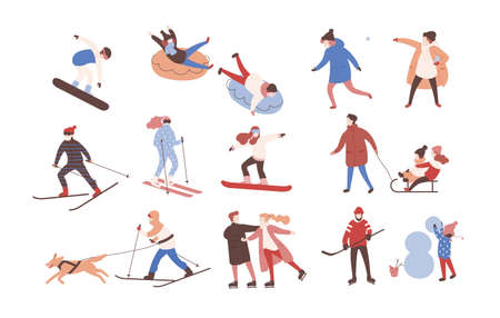 Collection of male and female cartoon characters performing winter activities. Set of men and women dressed in outerwear skiing, ice skating, snowboarding, playing hockey. Flat vector illustration.