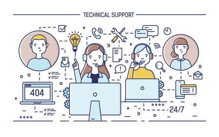 Gelukkige online consultants die een hoofdtelefoon dragen met microfoons die achter computers zitten en vragen van klanten beantwoorden. 24 uur technische ondersteuning. Vector illustratie in lijn kunststijl.