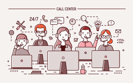 Smiling men and women wearing headphones with microphones sitting at computer displays and answering question. 24 hour call center, technical support service. Vector illustration in line art style. Vetores