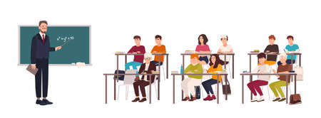 Pupils sitting at desks in classroom, demonstrating good behavior and attentively listening to teacher standing beside chalkboard and explaining lesson. Flat cartoon characters. Vector illustration. Stock Illustratie