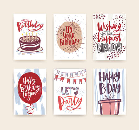 Bundle of birthday greeting card, postcard or party invitation templates decorated with handwritten b-day wishes and festive elements - gift, balloon, confetti, cake. Hand drawn vector illustration. Illustration