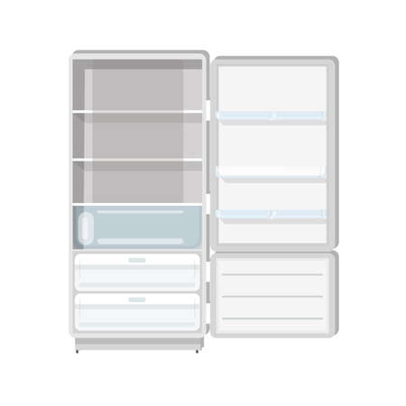 Empty refrigerator with opened door, shelves and trays isolated on white background. Fridge with freezer. Household or kitchen appliance for food cooling and storage.