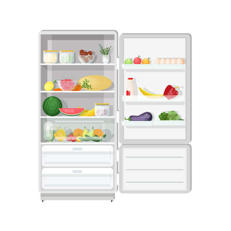 Modern refrigerator with opened door full of various healthy vegetarian food fresh fruits and vegetables, dietary products, wholesome daily meals.