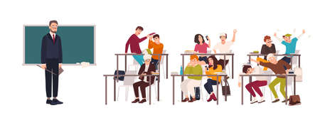 Students sitting at desks in classroom and demonstrating bad behavior - fighting, eating, sleeping, surfing internet on smartphone during lesson and teacher looking at them. Flat vector illustration