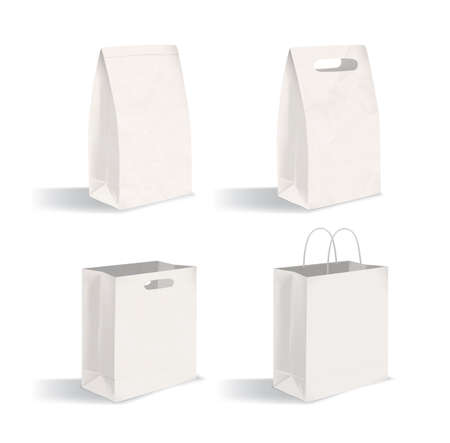 Collection of clean packages isolated on white background. Set of blank paper bags with and without handles. Bundle of mock-ups. Vector illustration for advertising, corporate identity demonstration 向量圖像
