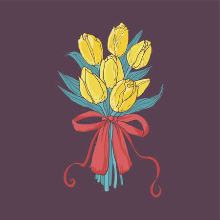 Beautiful bouquet of yellow tulips tied with elegant red ribbon isolated on dark background. Bunch of gorgeous spring flowers, international women's day gift. Colorful hand drawn vector illustration