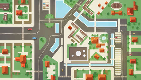 Top, aerial or bird s eye view or plan of modern city with commercial and living buildings, structures, roads, streets, river, canals and bridges. Beautiful urban landscape. Flat vector illustration.