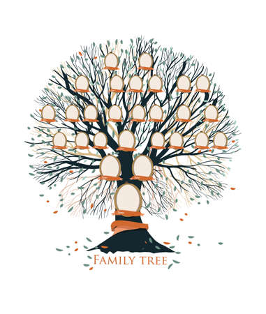 Family tree, pedigree or ancestry chart template with branches, leaves, empty photo frames isolated on white background. Representation of generations of relatives and ancestors. Vector illustration. Vettoriali