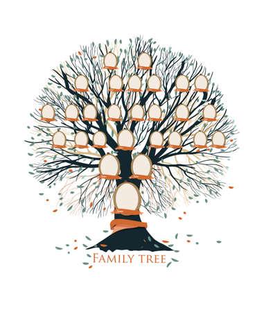 Stammbaum-, Stammbaum- oder Ahnendiagrammschablone mit Niederlassungen, Blätter, leere Fotorahmen lokalisiert auf weißem Hintergrund. Darstellung von Generationen von Verwandten und Vorfahren. Vektor-illustration Vektorgrafik