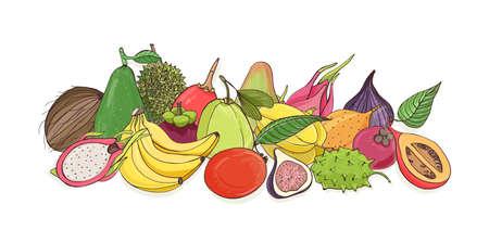 Composition with delicious ripe juicy tropical fruits - mango, banana, pitaya, avocado, fig, tamarillo, coconut, durian, carambola, guava, kiwano, mentega, papaya. Colorful vector illustration.