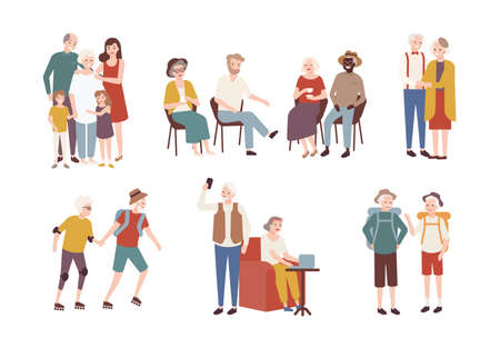 Collection of happy elderly people performing daily activities - rollerskating, going camping, spending time with family. Set of smiling old men and women. Colorful flat cartoon vector illustration. Ilustração