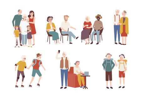 Verzameling van gelukkige ouderen die dagelijkse activiteiten uitvoeren - rolschaatsen, kamperen, tijd doorbrengen met familie. Set van glimlachende oude mannen en vrouwen. Kleurrijke platte cartoon vectorillustratie.