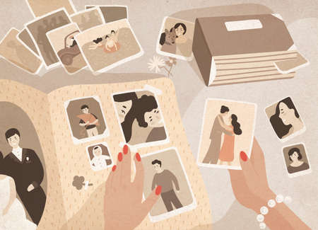 Womans hands holding old photographs, sorting them out and attaching to pages of photographic album or photo book. Keeping in order pictures with family memories. Colored cartoon vector illustration.