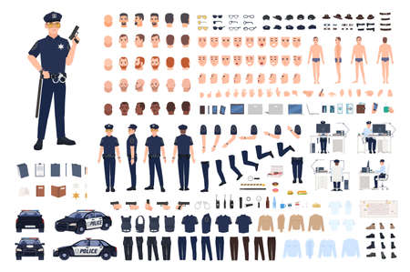 Policeman creation set or DIY kit. Collection of male police officer body parts, facial gestures, hairstyles, uniform, clothing and accessories isolated on white background. Vector illustration. Vettoriali