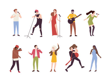 Collection of singers with microphones and musicians isolated on white background. Set of young men and women singing songs and playing guitar. Male and female cartoon characters. Vector illustration 向量圖像