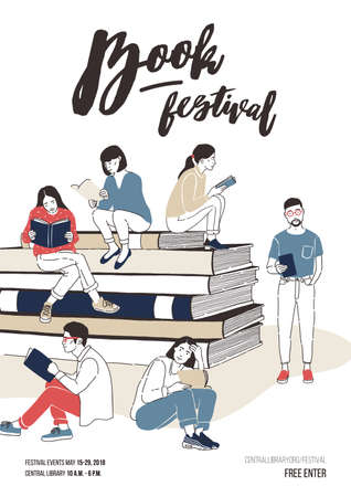 Young men and women dressed in stylish clothing sitting on stack of giant books or beside it and reading. Colorful vector illustration for literary or writers festival advertisement, event promotion Vettoriali
