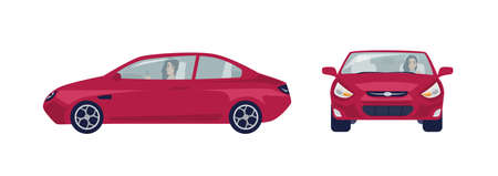 Long haired brunette woman driving red sedan car. Female driver and her automobile. Front and side views. Cartoon character isolated on white background. Colorful vector illustration in flat style.  イラスト・ベクター素材