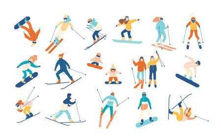 Pessoas adultas e crianças vestidas de roupas de inverno snowboard e esqui. Pilotos de esqui masculino e feminino dos desenhos animados e snowboard. Atividade de esportes de montanha de inverno. Ilustração vetorial em estilo simples.