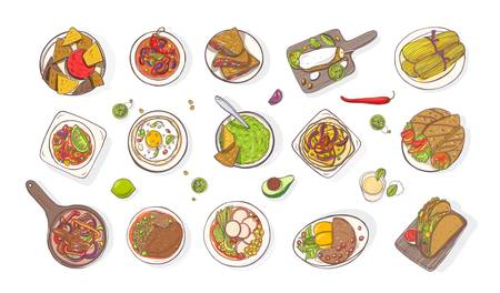 Collection of various traditional Mexican meals - burrito, quesadilla, tacos, nachos, fajita, guacamole. Set of national dishes of Mexico isolated on white background. Colorful vector illustration.