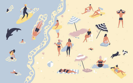 People at beach or seashore relaxing and performing leisure outdoor activities - sunbathing, reading books, talking, walking, surfing, swimming in sea or ocean. Flat cartoon vector illustration
