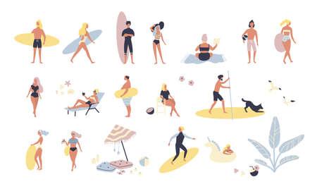 Raccolta di persone che svolgono attività estive all'aperto in spiaggia - prendere il sole, camminare, trasportare la tavola da surf, nuotare in mare. Personaggi dei cartoni animati isolati su sfondo bianco. Illustrazione vettoriale