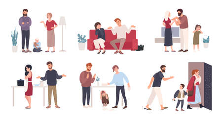 Collection of spouses or romantic partners during conflict. Set of husband and wife quarreling, brawling, shouting at each other. Family or domestic abuse, unhappy marriage. Vector illustration
