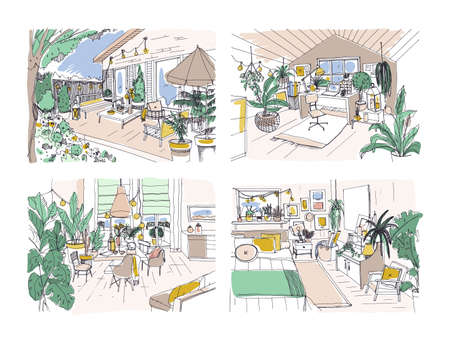 Collection of colored freehand drawings of cozy apartment furnished in Scandinavian hygge style. Set of rooms full of modern furniture. Stylish home interior design. Hand drawn vector illustration