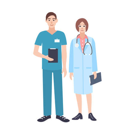 Pair of male and female doctors wearing scrubs and physician coat.