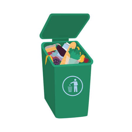 Organic waste lying in open green trash container. Leftover food in trash bin isolated on white background. Fruits, vegetables, bread and other edible products in garbage bin. Flat vector illustration