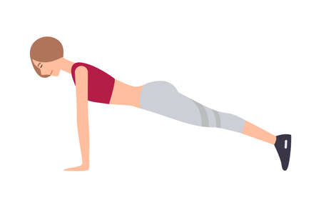 Young woman dressed in sports apparel performing front plank exercise isolated on white background. Female cartoon character doing aerobics, pilates or yoga training. Colorful vector illustration.