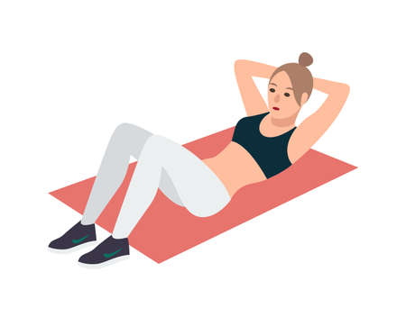 Woman in fitness clothes lying on pink mat and performing abdominal crunch exercise. Female cartoon character doing sit-ups during aerobics workout isolated on white background. Vector illustration.