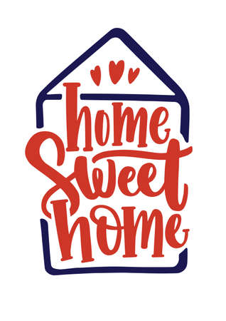 Home Sweet Home inscription handwritten with calligraphic font inside contour of house. Elegant hand lettering isolated on white background. Slogan, phrase or quote. Colored vector illustration. Illustration