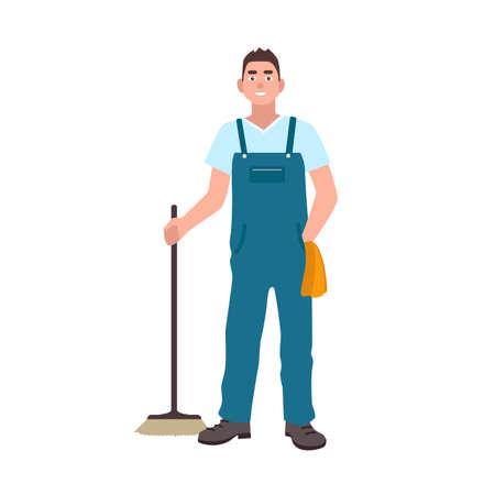 El hombre sonriente se vistió en los overoles que sostenían el depurador aislado en el fondo blanco. Trabajador de servicio de limpieza masculino con cepillo de piso. Conserje, limpiador o barrendero. Ilustración de vector colorido de dibujos animados plana. Ilustración de vector
