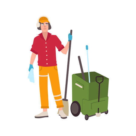 Young man wearing headphones and uniform standing beside mop bucket cart and holding broom. Male cleaning service worker or cleaner isolated on white background. Flat cartoon vector illustration.