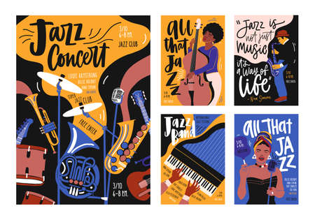 Collection of poster, placard and flyer templates for jazz music festival, concert, event with musical instruments, musicians and singers. Vector illustration in contemporary hand drawn cartoon style.
