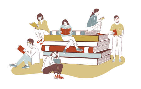 Young stylish male and female readers dressed in trendy apparel sitting on stack of giant books or beside it and reading. Literature fans or lovers. Colored vector illustration in contemporary style. Vectores