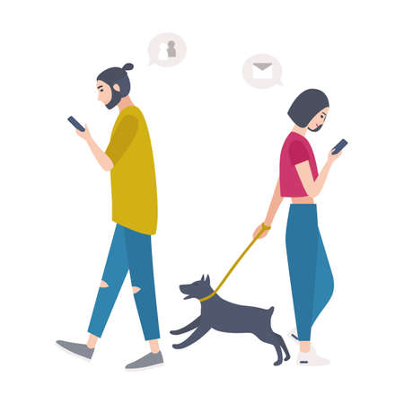 Young woman walking dog on leash and man passing by each other, looking at their mobile phones and checking social networks. People addicted to electronic devices. Flat cartoon vector illustration.