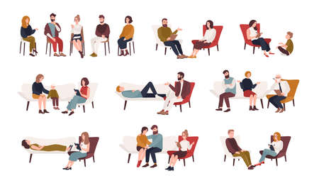 Collection of men and women or married couples sitting on chairs or lying on sofa and talking to psychotherapist or psychologist. Group or family psychotherapy. Flat cartoon vector illustration.