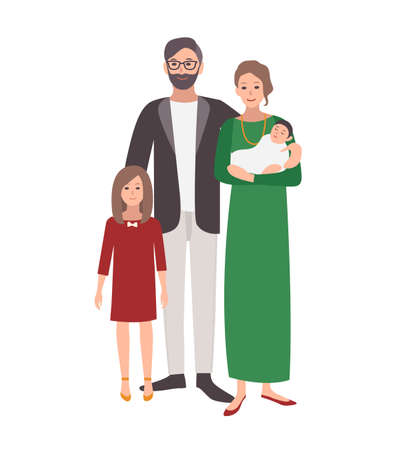 Large european or caucasian family. Father, mother holding baby and teenage daughter standing together. Funny flat cartoon characters isolated on white background. Colorful vector illustration. Illustration