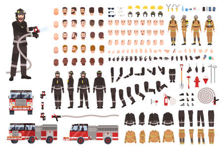 Firefighter creation set or constructor. Collection of fireman body parts, facial expressions, protective clothing, equipment, fire engine isolated on white background. Cartoon vector illustration.