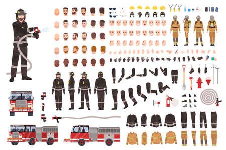 Ensemble de création de pompier ou constructeur. Collection de parties du corps de pompier, expressions faciales, vêtements de protection, équipement, pompier isolé sur fond blanc. Illustration vectorielle de dessin animé.