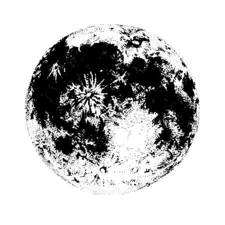 Moon, isolated on white background. Elegant drawing of celestial body, space astronomical object, satellite or planet. Monochrome vector illustration hand drawn in contemporary dot work style.